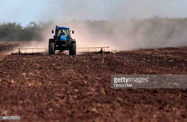 A field is sown in Dique Chico Cordoba province Argentina on January 21 2018 Soybean fields in Argentina are often fumigated with glyphosate a...