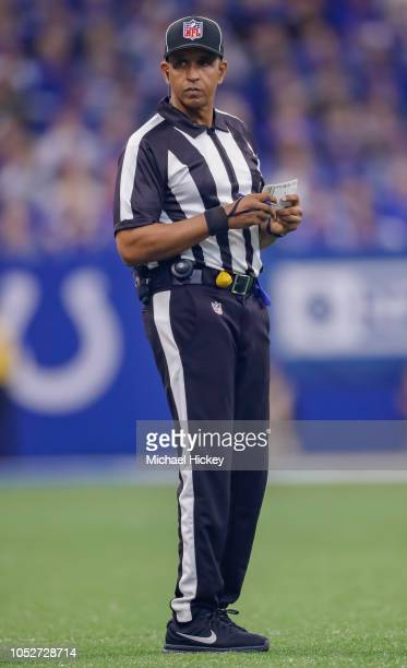 NFL field judge Jimmy Buchanan is seen during the Indianapolis Colts against Buffalo Bills game at Lucas Oil Stadium on October 21 2018 in...