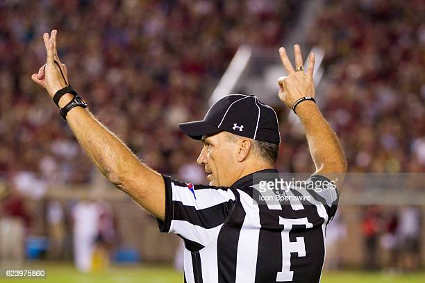Field judge Kip Johnson signals third down during the NCAA football game between the Florida State Seminoles and the Boston College Eagles on...