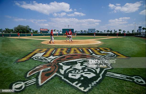 Field level general view of the Pittsburgh Pirates logo on the field before the Spring Training game against the Philadelphia Phillies at McKechnie...
