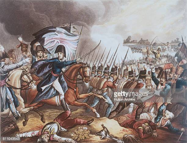 Field Marshal Arthur Wellesley 1st Duke of Wellington orders the line to advance to make the decisive charge in pursuit of the retreating French at...