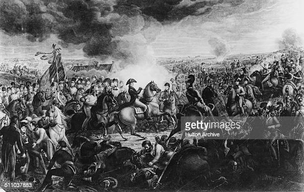 Field Marshal Arthur Wellesley, 1st Duke of Wellington with his general staff on the field at the Battle of Waterloo during the Napoleonic War of the...