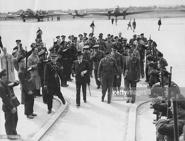 Field Marshal Montgomery , British Ambassador Duff Cooper and French General Marie Pierre Koenig , leaving Le Bourget for Paris in front of a Guard...