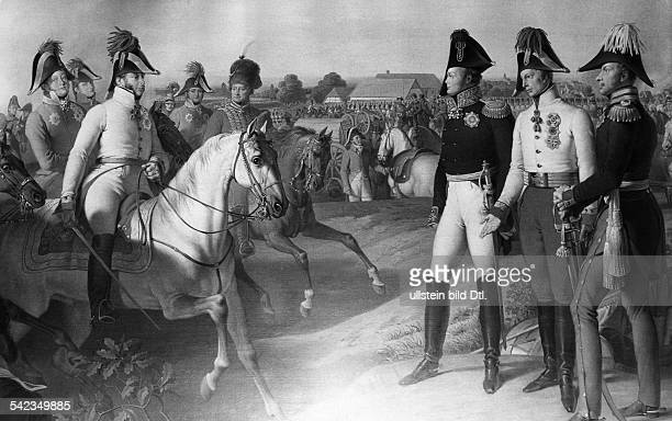 Field Marshal Prince Schwarzenberg on horseback reports the victory in the Battle of Leipzig to the three Allied Monarchs of Russia Austria and...