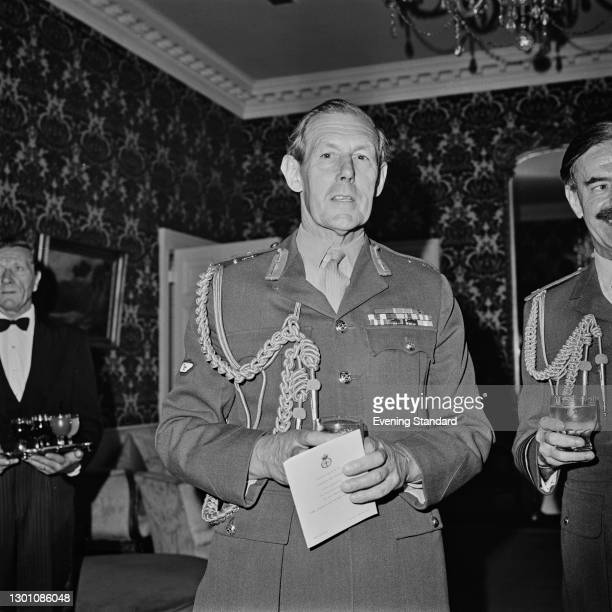 Field Marshal Sir Michael Carver at an event celebrating the 50th anniversary of the Chiefs of Staff Committee, UK, 17th July 1973.