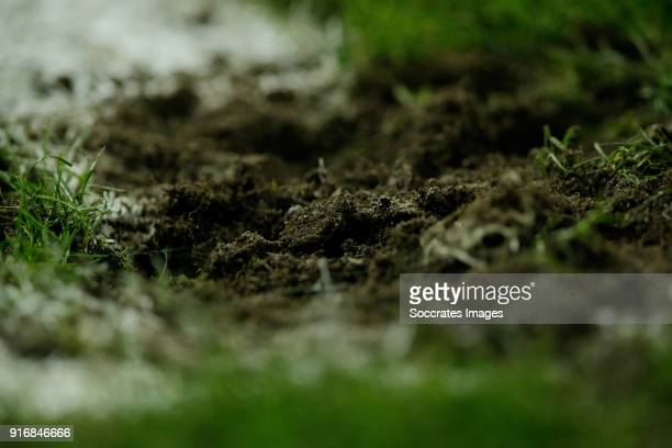 field mud grass during the Dutch Eredivisie match between SC Heerenveen v Roda JC at the Abe Lenstra Stadium on February 10 2018 in Heerenveen...