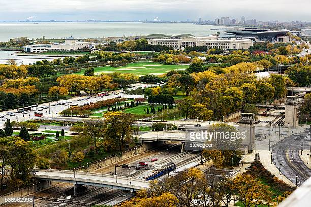field museum and shedd aquarium in autumn, chicago - metra train stock photos and pictures