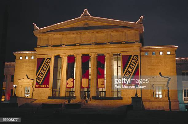 Field Museum building exterior at night with Christmas Lights and Sue Uncrated banners