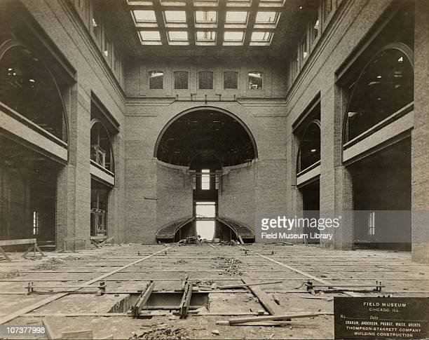 Field Museum construction site interior view of the partially completed main staircase Graham Anderson Probst White ThompsonStarrett Company Chicago...