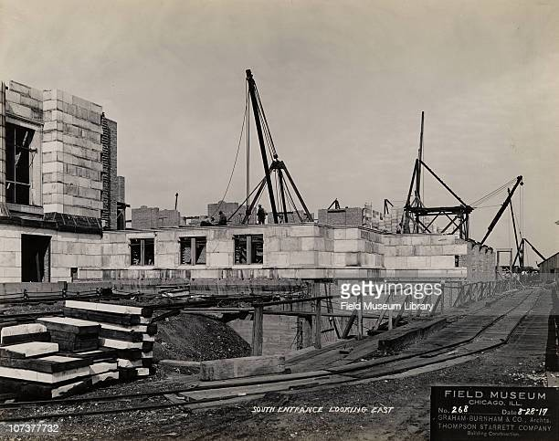 Field Museum construction site south entrance looking east GrahamBurnham Company ThompsonStarrett Company Chicago Illinois August 28 1917