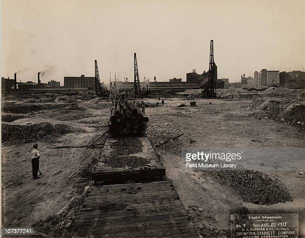 Field Museum site closeup of worker lumber cranes D H Burnham Company ThompsonStarrett Company Chicago Illinois August 20 1915