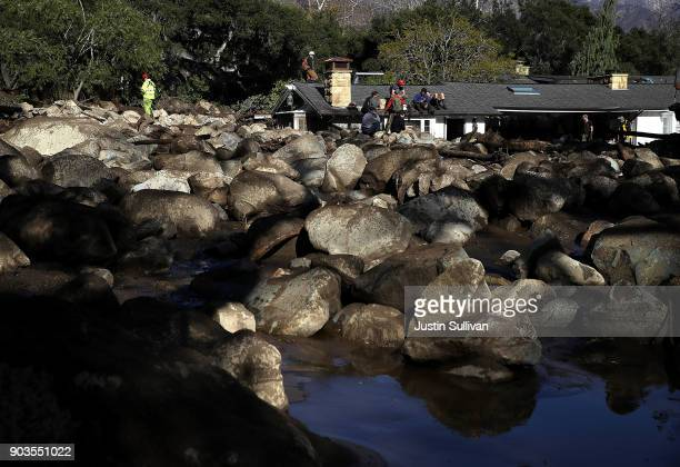 A field of boulders sits in front of a home that was destroyed by a mudslide on January 10 2018 in Montecito California 15 people have died and...