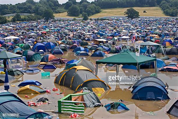 Field of flooded tents at the very wet 2005 Glastonbury festival.