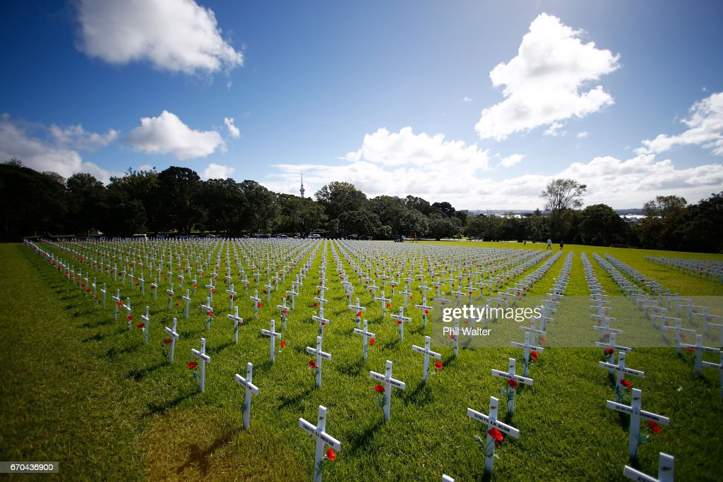 A field of memorial crosses is pictured on the lawn in front of the Auckland War Memorial Museum on April 20, 2017 in Auckland, New Zealand. The field of white crosses has been installed in the lead up to ANZAC Day. New Zealand. ANZAC Day commemorates the day Australian and New Zealand Army Corp (ANZAC) landed on the shores of Gallipoli on April 25, 1915, during World War 1. Anzac day is a national holiday in New Zealand and Australia, marked by a dawn service held during the time of the original Gallipoli landing and commemorated with ceremonies and parades throughout the day.