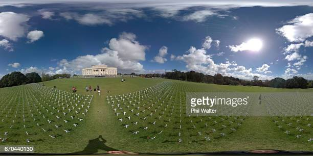 A field of memorial crosses is pictured on the lawn in front of the Auckland War Memorial Museum on April 20 2017 in Auckland New Zealand The field...
