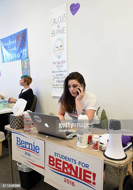 Field organizer Belen Sisa of Arizona makes phone calls at a campaign office for Democratic presidential candidate Sen Bernie Sanders on February 19...