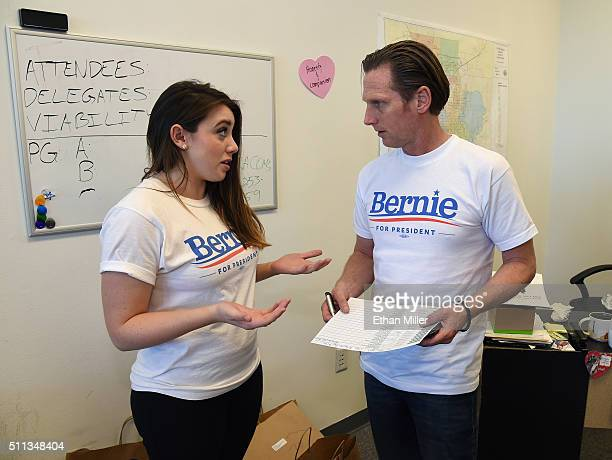 Field organizer Belen Sisa of Arizona talks with volunteer Keith Anthony Sikora of California at a campaign office for Democratic presidential...