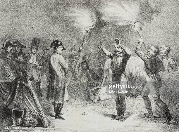 Field party the night before the battle of Austerlitz, December 2 Slavkov u Brna, Czech Republic, lithograph by Giovanni Mariani after a drawing from...