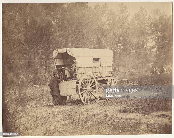 A field telegraph battery wagon in front of Petersburg Virginia during the American Civil War September 1864 From 'Gardner's Photographic Sketch Book...