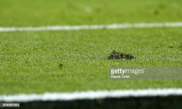 Field turf is seen in the second quarter during Super Bowl 50 between the Denver Broncos and the Carolina Panthers at Levi's Stadium on February 7...