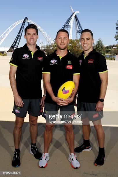Field Umpire, Matt Stevic, AFL Field Umpire, Brett Rosebury and AFL Field Umpire, Jacob Mollison pose for a photo during the 2021 Toyota AFL Grand...