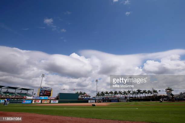 Field view before the Spring Training game between the Toronto Blue Jays the Pittsburgh Pirates at LECOM Park on February 27, 2019 in Bradenton,...