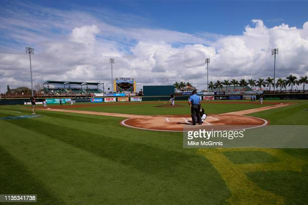 Field view during the Spring Training game between the Toronto Blue Jays the Pittsburgh Pirates at LECOM Park on February 27, 2019 in Bradenton,...