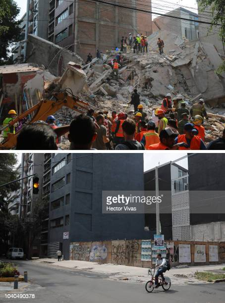 In this composite image a comparison has been made between a collapsed building photographed on September 22 2017 and on September 19 as part of a...