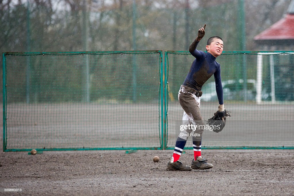 fielding practice in baseball : Stock Photo