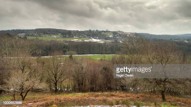 fields and mountains - nigel owen stock pictures, royalty-free photos & images
