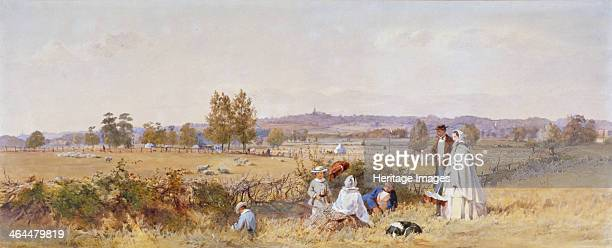 Fields at the back of Holloway Prison Islington London 1859 View of figures and a dog with the Church of St Michael Highgate in the distance