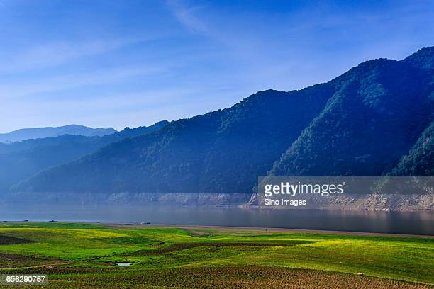 fields by the yalu river - yalu river stock pictures, royalty-free photos & images