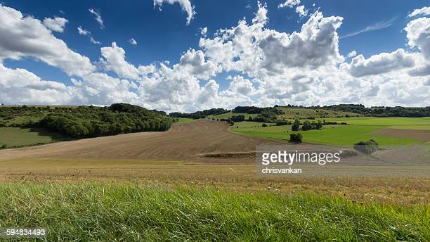 fields in the countryside, picardy, france - hauts de france stock photos and pictures