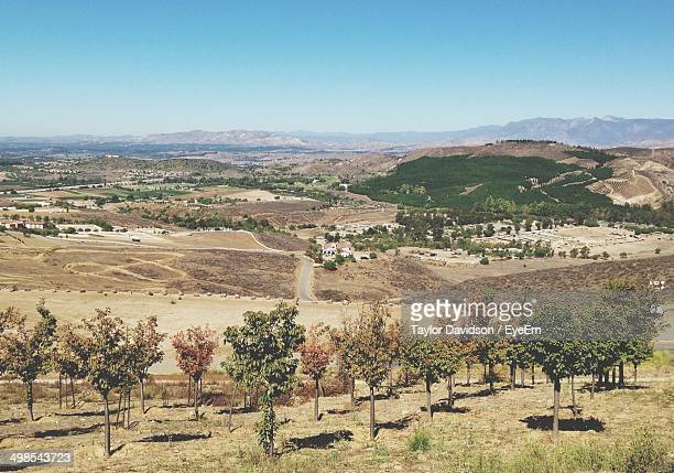 fields with trees in foreground - simi valley stock photos and pictures