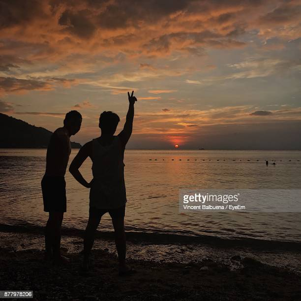 Fiends Standing On Shore Against Cloudy Sky During Sunset