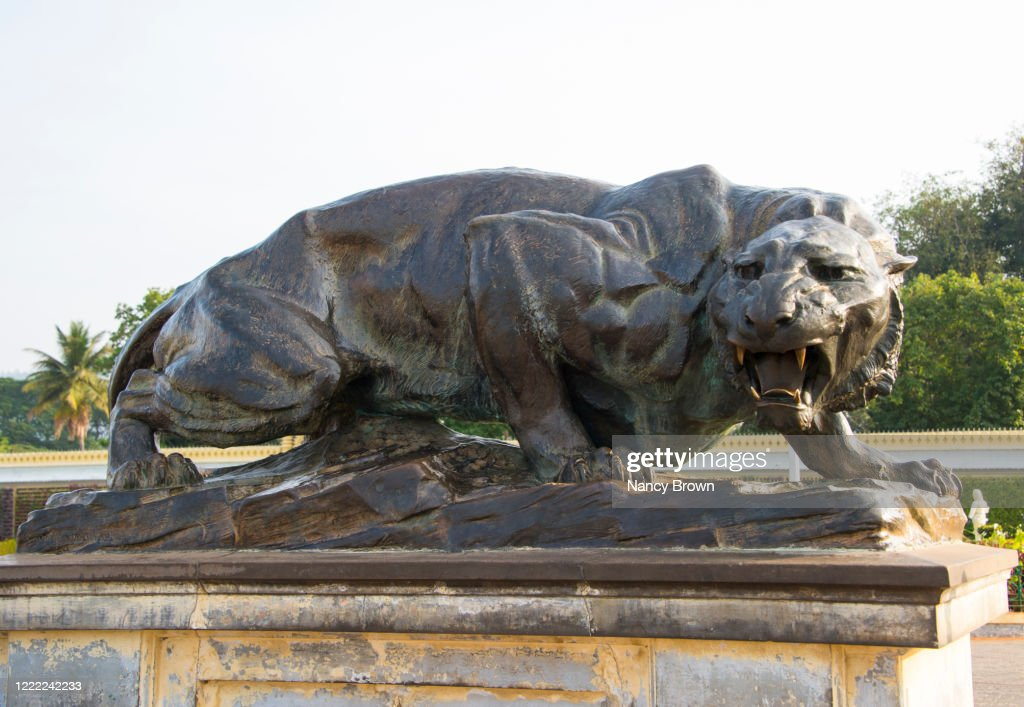 A Fierce Bronze Tiger Statue in the Mysore Palace in India. : ストックフォト