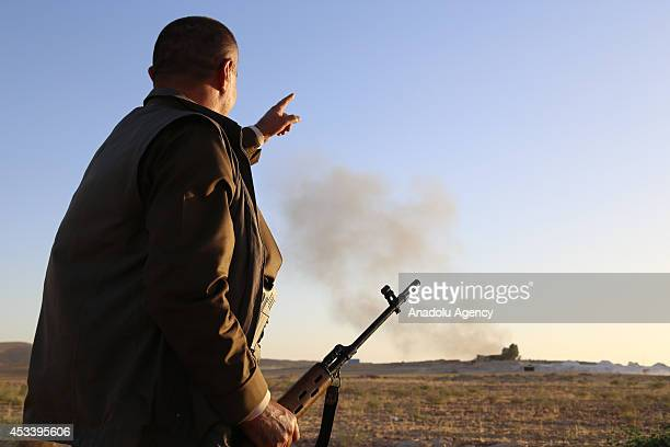 Fierce clashes keep going on between Peshmerga forces and Islamic Stateled armed groups outside of Makhmur district of Mosul Iraq on August 9 2014...