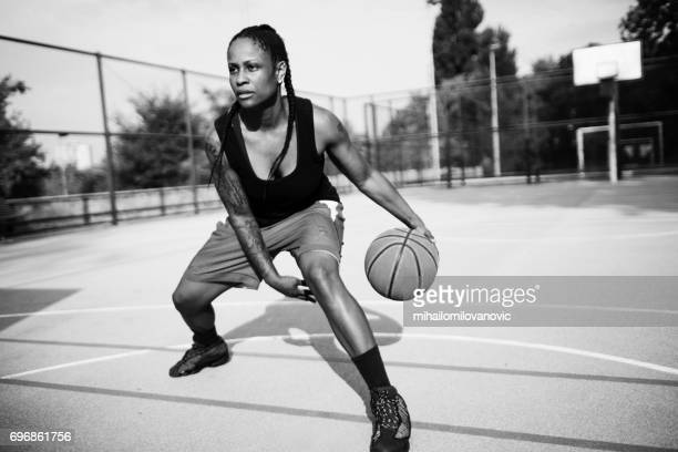Fierce female basketball player