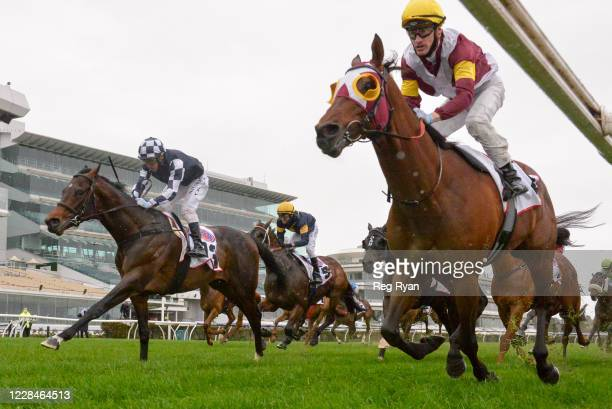 Fierce Impact ridden by Mark Zahra wins the PFD Food Services Makybe Diva Stakes at Flemington Racecourse on September 12, 2020 in Flemington,...