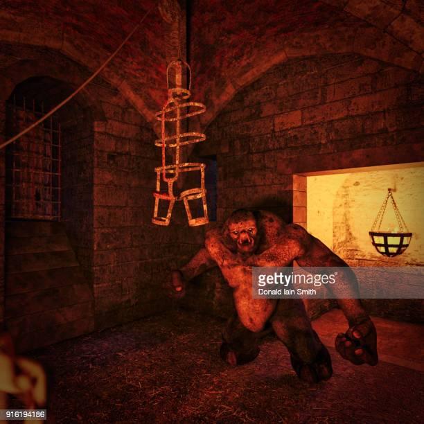 Fierce ogre in dungeon