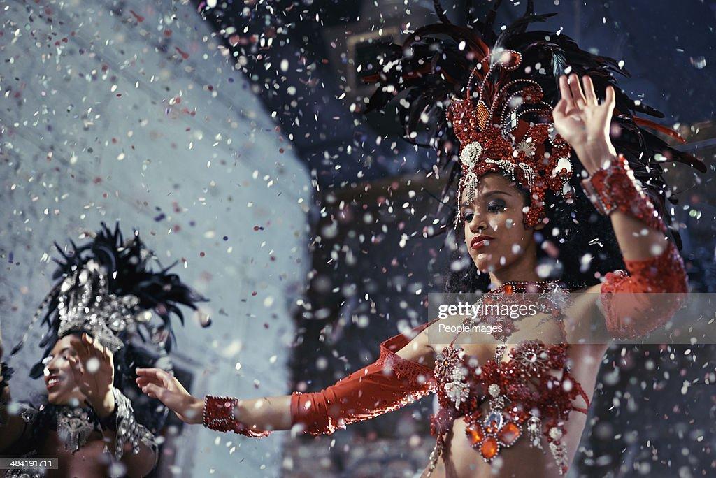 Fiery festival dancers : Stock Photo