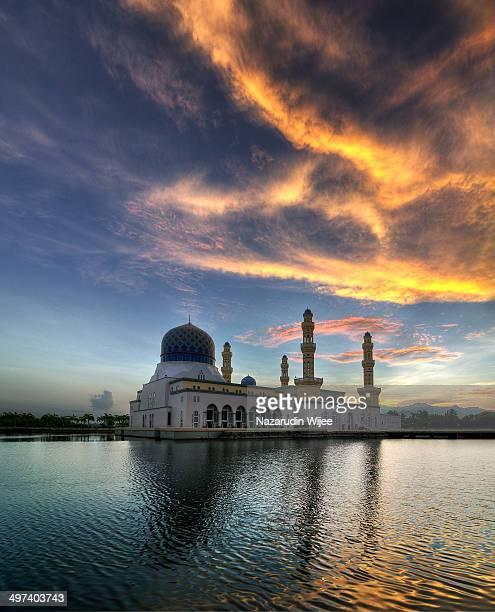 Fiery sky over Kota Kinabalu City Mosque