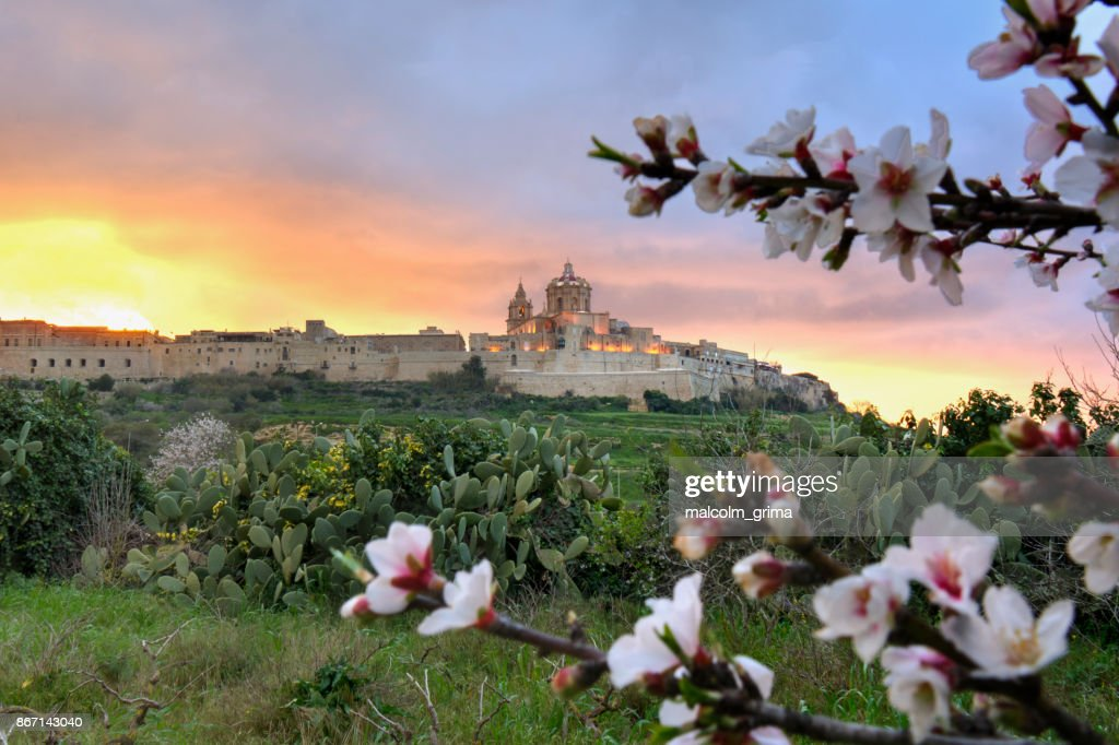 A fiery sunset over Mdina, Malta : Stock Photo