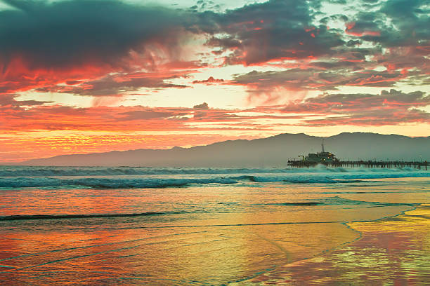 Fiery Sunset over Santa Monica Beach