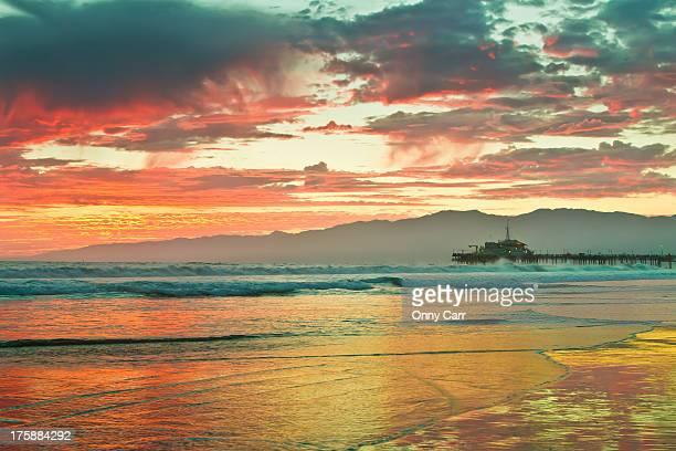 Fiery Sunset over Santa Monica Beach