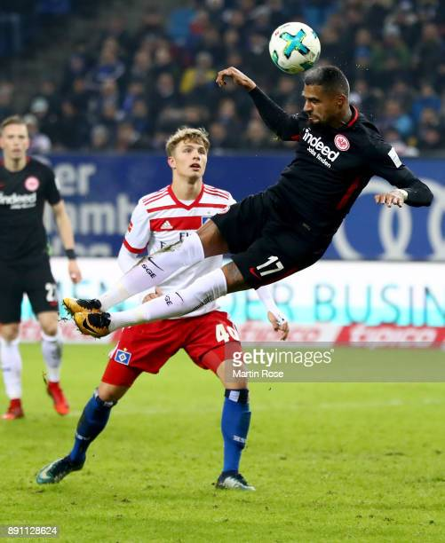 Fiete Arp of Hamburg and Kevin Boateng of Frankfurt battle for the during the Bundesliga match between Hamburger SV and Eintracht Frankfurt at...