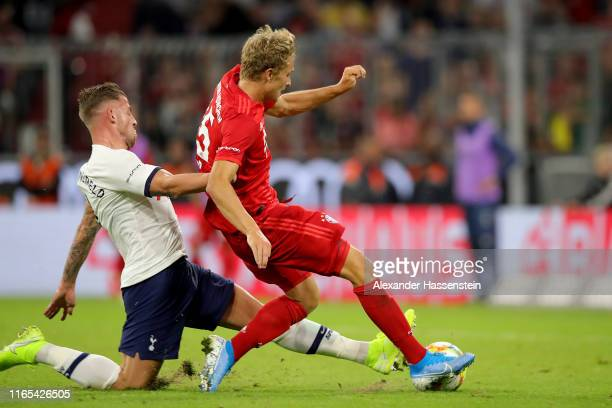 Fiete Arp of Muenchen scores the 1st team goal during the Audi Cup 2019 final match between Tottenham Hotspur and Bayern Muenchen at Allianz Arena on...