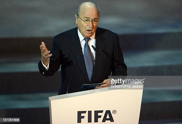 Fifa President Joseph Blatter delivers a speech during the draw for next June's Confederations Cup Brazil 2013 a dress rehearsal for the 2014 World...