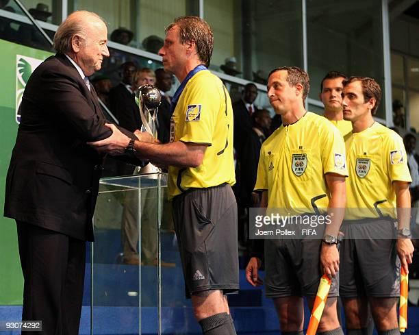 Fifa President Joseph S Blatter congratulates the referees Martin Vasquez Carlos Amarilla Carlos Pastorino and Miguel Nievas after the FIFA U17 World...