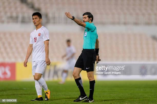 Fifa Referee Omar Mohamed Ahmed Hassan Alali gestures during the AFC Cup Group I match between Benfica Macau and 425 SC at MUST Stadium on April 25...
